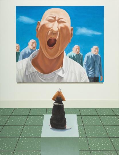 房培鑫《观看中国现当代艺术—方力钧》130×100cm 布面油画、丙烯 2018