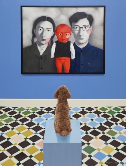 房培鑫 《观看中国现当代艺术—张晓刚》 130×100cm 布面油画、丙烯 2018