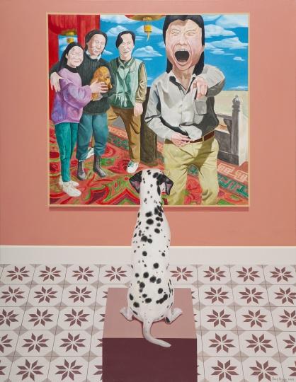 房培鑫 《观看中国现当代艺术—岳敏君》130×100cm 布面油画、丙烯 2018