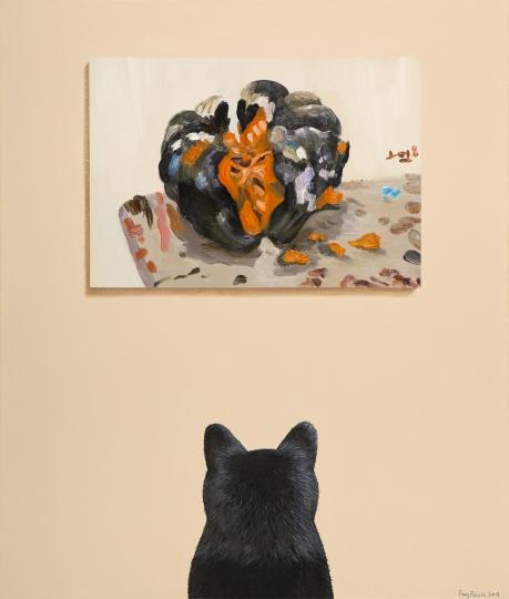 房培鑫 《黑猫观看刘小东》 70×60cm 布面油画、丙烯 2018