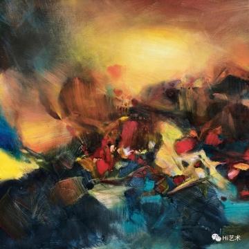 朱德群《无题》50.2 × 65 cm 油彩纸本裱于画布 1970 估价: HKD 1,100,000 – 1,800,000