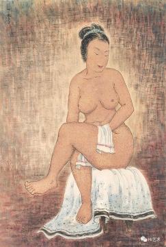潘玉良 《坐姿裸女》100 × 70cm 彩墨纸本 约1940~1945作 估价: HKD 12,000,000 – 25,000,000