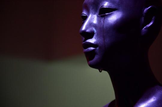 叶锦添青铜雕塑《原欲》,旁边展墙上的文字为:为何流着泪……