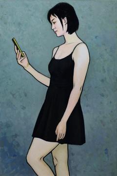 靳尚谊《看手机的女孩》90×60cm 布面油彩2017 中国美术馆藏