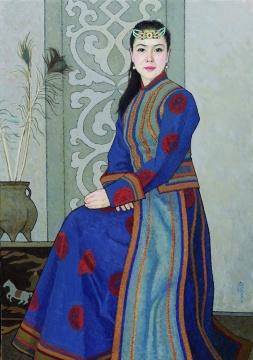 靳尚谊《蒙古族公主》100×70cm 布面油彩2015 中国美术馆藏