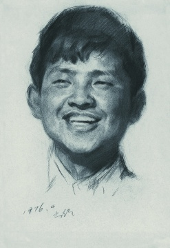 靳尚谊《快乐的小男孩》39.4×27cm 纸本炭笔1976 中国美术馆藏