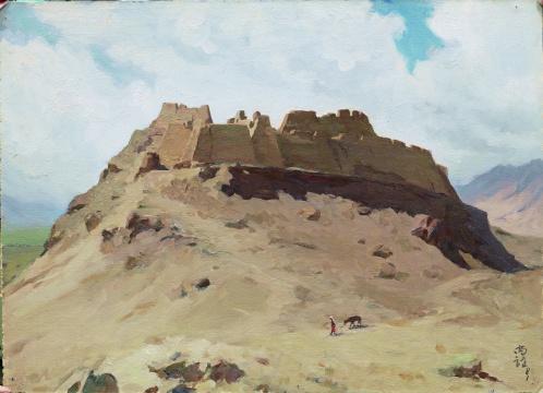 靳尚谊《古堡》39.1×54.3cm 纸板油彩纸板油画 1981 中国美术馆藏