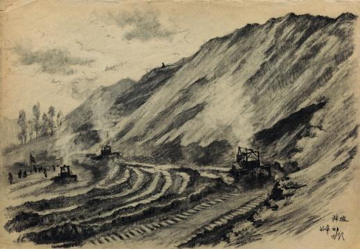 靳尚谊《降坡》27×39cm 纸本炭笔1954 中国美术馆藏