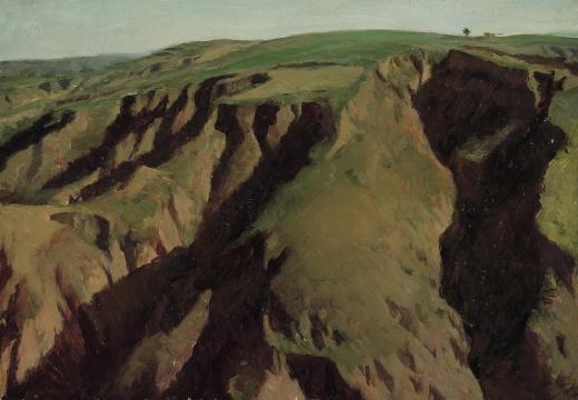 靳尚谊《陕北高原》39.3×27cm 纸板油彩 中国美术馆藏