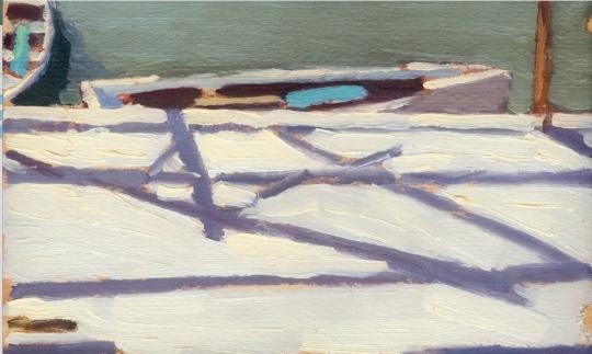 杨雨澍《紫竹院码头》18.5×10.8cm 纸本油画 1972年