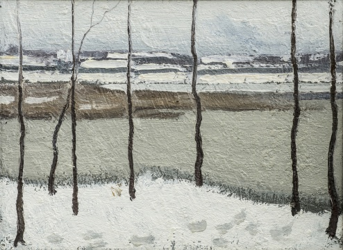 赵文量《后湖》27.2×24cm 布面油画 1962年