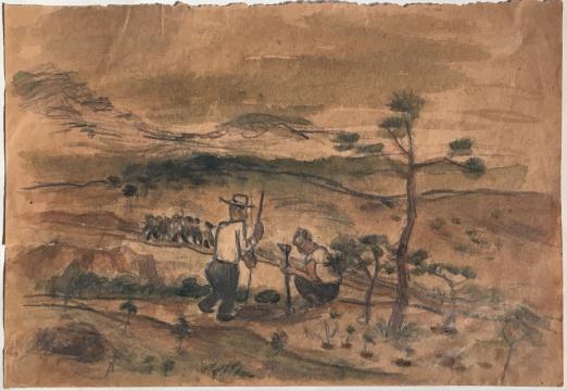 谭华牧《种树》19.5×13.5cm 纸上水彩 1957-1958年