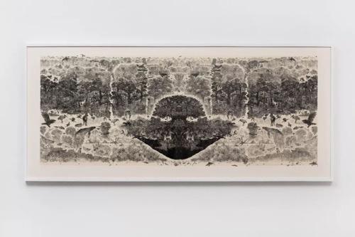 小林敬生《日复生-绿色之星·8D》124x283cm 4/5 木口木刻版画 2008