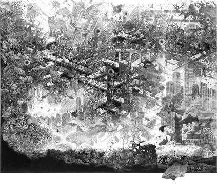 小林敬生《苏醒时刻-群舞 94·10C 》 105.5x125.7cm 12/20 木口木刻版画 1994