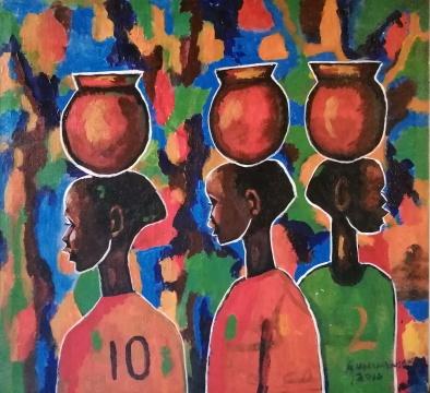 安德鲁-姆万南希库 《2012非洲国家杯》 64×68cm布面丙烯 2012