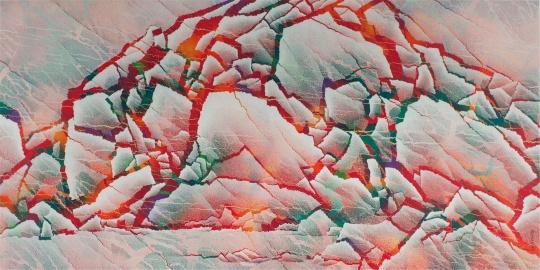 仇德树《裂变-红岩圣光》宣纸、丙烯、画布 181×360cm 2010-2011
