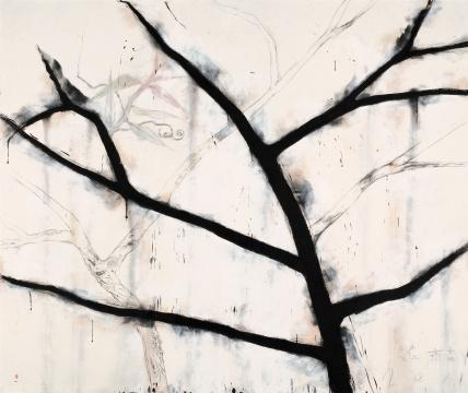 魏青吉 《老树》宣纸、水墨综合材料 200×242cm2011