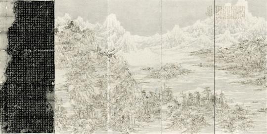 王天德 《后山图——麓山寺碑拓本》左一:259×105cm;左二至五:256.5×99.5cm×4 宣纸、墨、火焰、清代拓片 2017