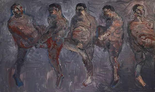 《顶拐的汉子》 200x540cm 亚麻布油画 2015