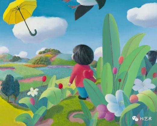 《暖丘——随风2》布面油画 80×100cm 2014