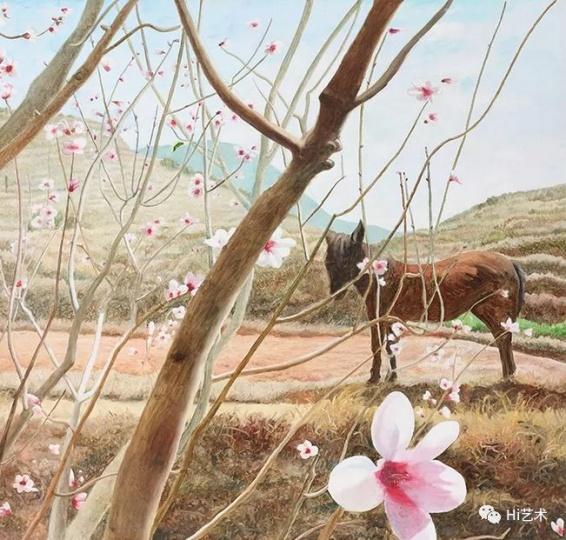 《轻声漫步听花开》142x142cm 布面油画 2013