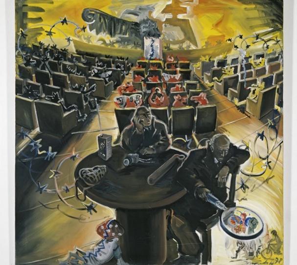 约尔格·伊门多夫《德意志咖啡馆系列——议会》150×150cm 布面丙烯 1978