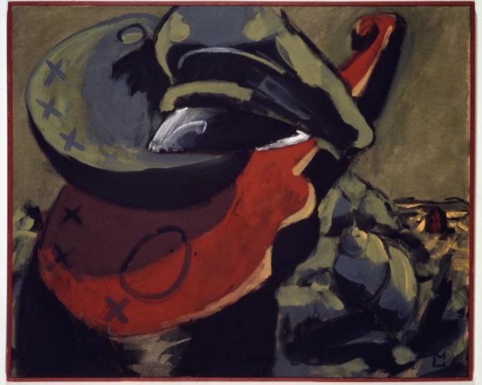 马库斯·吕佩尔兹《为一顶帽子所做的安排——酒神的赞美诗(五)》132.5×160.5cm 布面油画 1973