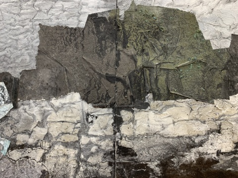 《海礁3》 180×90cm×10 木质构造、宣纸、矿物、植物、土质颜料、金银粉、金属渣 2019
