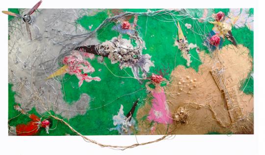 《旷野之徒之二》380x193cm 木刻综合材料 2019