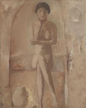 《坐着的女人体》100x80cm布面油画 1992