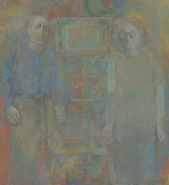 《我和小春》130x120cm 布面油画1995
