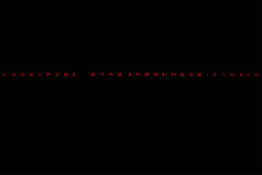 宫岛达男《计数间隔》11×597.5×3.5cm×18LED装置 1989/2019,由宫岛达男工作室提供