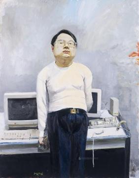 刘小东 《电脑领袖》 230×180cm 布面油画 1996  本场拍卖唯一一件估价待询