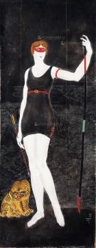 藤田嗣治 《阿西娜和老虎》 90×35cm 布面油画 1923  估价:680万-880万元