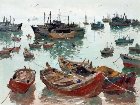 吴冠中 《渔港》 46×61cm 木板油画 1976  估价:1500万-2500万元