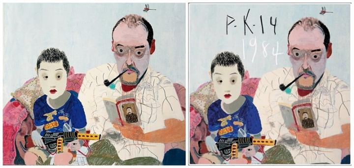 王玉平《父与子》200x160cm 布面油画、丙烯 2010(图左)  P.K.14《一九八四》专辑封面 2013年发行(图右)
