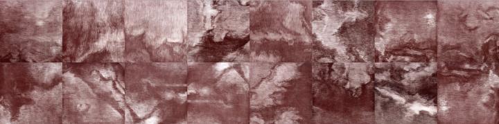 《红之九》56×224cm(28×28cm×16) 铜版画 2018