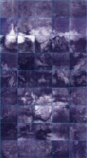 《蓝之八》252×140cm(28×28cm×45) 铜版画2018