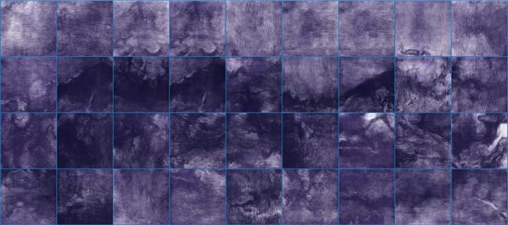《蓝之四》 112×252cm(28×28cm×36) 铜版画2018