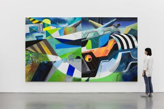 简策 《舰队(5)&(7)》230×200 cm×2 布面丙烯、油漆、马克笔、粉笔、蜡笔 2018