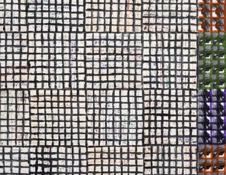 《Hand:Work, 2019, Ex. Unique》213.36×213.36×5cm 木板、纸面油彩棒 2019 MDC画廊