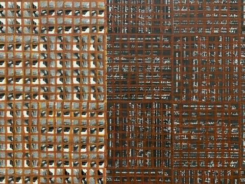 《Hand:Work, 2019, Ex. Unique》 182.88×121.92×5cm 木板、纸面油画棒 2019  MDC画廊
