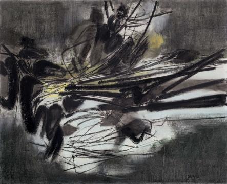 朱德群 《第九十号构图》 82.5×100cm 布面油画 1961  估价:580万-780万元