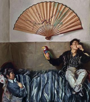 赵半狄 《鹦鹉与扇子》 200×175cm 布面油画 1990  估价:1200万-1800万元
