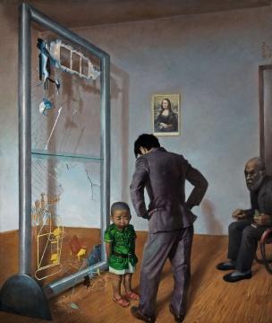 王兴伟 《可怜的老汉密尔顿》 222×177.5cm 布面油画 1996  估价:900万-1200万元