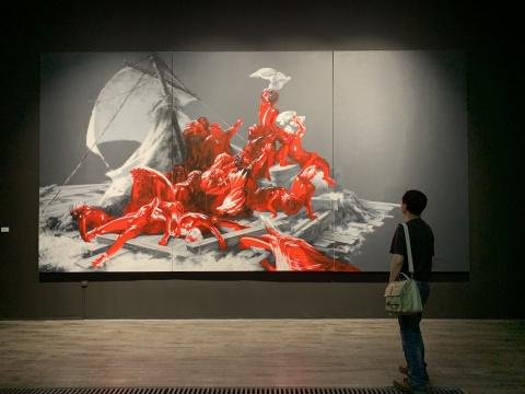 武明中 《重生——向梅杜莎之筏致意》 580×300cm 布面丙烯 2018