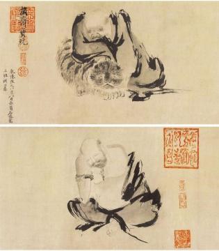 (五代)石恪《二祖调心图》,现收藏于日本东京国立博物馆