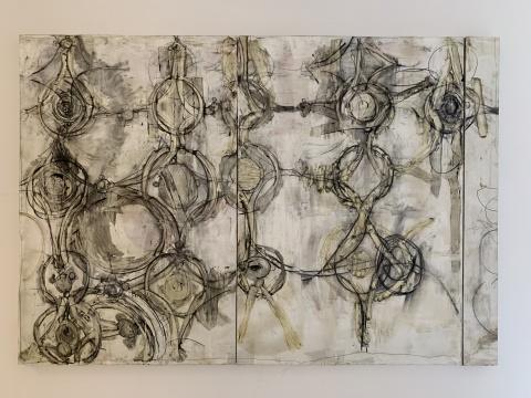 《运转1》 255×175cm 布面油画、蜡媒材、木炭、蜡笔 2019