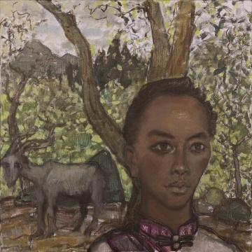 毛旭辉《圭山的牧羊女》 60×60cm 布面油画 2019.4