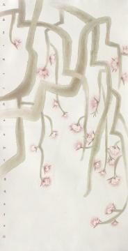 《桃花流水》 131×66cm 纸本设色 2009年